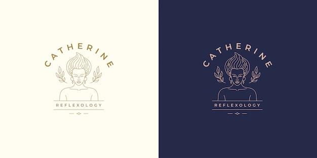 Rosto bonito linha feminina com folhas vector logo emblema design modelo ilustração estilo linear simples
