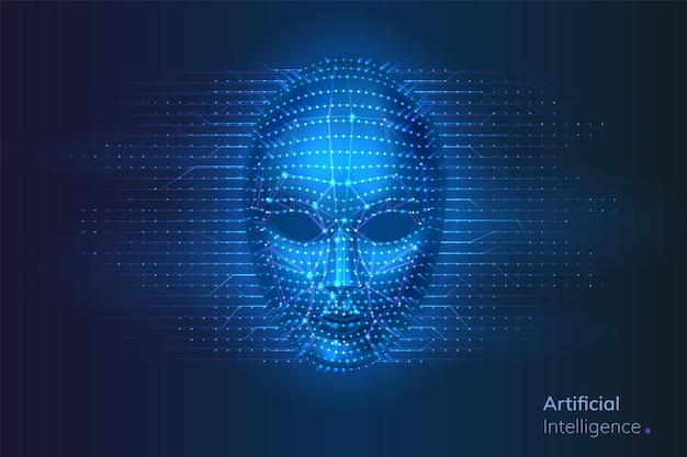 Rosto cibernético de robô ou inteligência artificial com conexões de rede neural de pontos e linhas perto