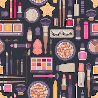 Rosto compõem o padrão sem emenda de ferramentas. coleção de artigos de cosméticos decorativos
