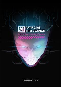 Rosto da mente cibernética. conceito de fundo de tecnologia.