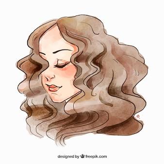 Rosto da mulher da forma com cabelo encaracolado