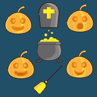 Rosto de abóboras e símbolo do dia das bruxas