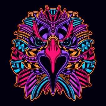 Rosto de águia em arte de estilo néon cor