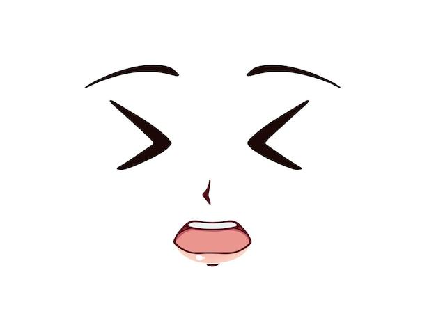 Rosto de anime assustado estilo mangá olhos engraçados nariz pequeno e boca kawaii