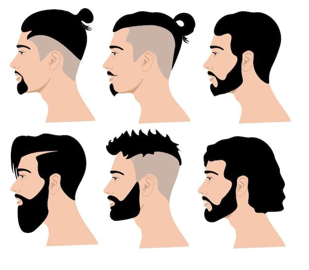 Rosto de barba lateral penteados e barbas masculinas perfis retratos caucasianos de pessoas bonitas e viris