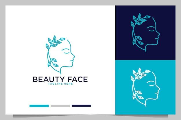 Rosto de beleza para design de logotipo de salão ou spa