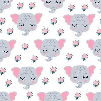 Rosto de cabeças de elefante fofo com os olhos fechados para a primavera.