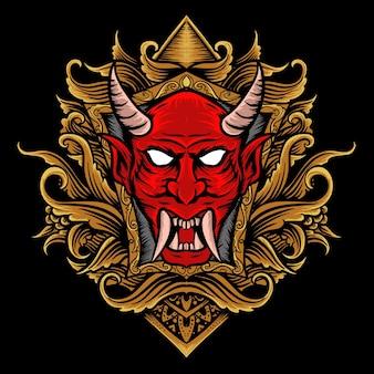 Rosto de demônio com estilo de gravura