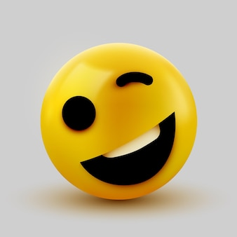 Rosto de emoji amarelo piscando. emoticon de desenho animado Vetor Premium