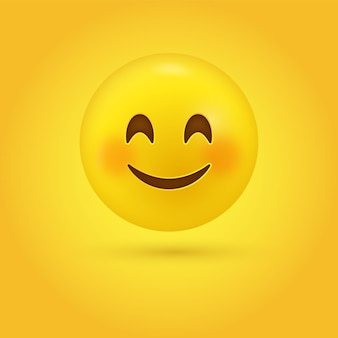 Rosto de emoji fofo e sorridente com olhos sorridentes e bochechas rosadas