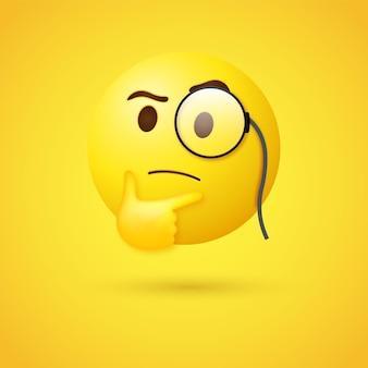 Rosto de emoji pensando em 3d com monóculo ou emoticon 3d olhando para cima com lupa