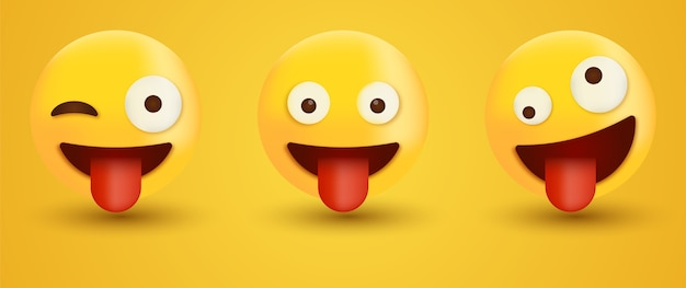 Rosto de emoji piscando com língua emoticon de rosto louco