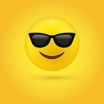 Rosto de emoji sorridente com ilustração de óculos de sol