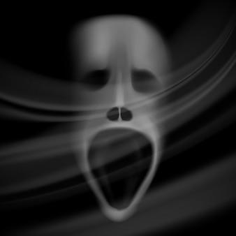 Rosto de fantasma, crânio borrado, fundo de terror com sombras