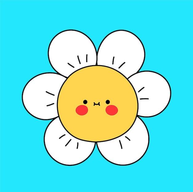 Rosto de flor de camomila engraçado bonito. ícone de ilustração do vetor doodle linha cartoon personagem kawaii. conceito do logotipo do mascote do desenho da flor de camomila