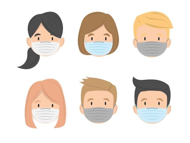 Rosto de grupo de crianças usando máscara médica plana