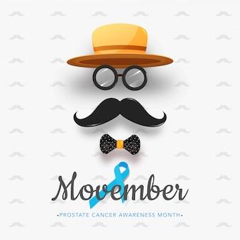 Rosto de homem criativo feito pelo chapéu fedora com óculos, bigode, gravata borboleta e fita da aids para movember