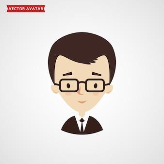 Rosto de jovem - avatar. empresário em terno formal. ícone isolado no fundo branco.