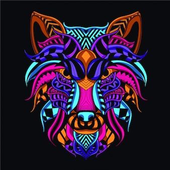 Rosto de lobo decorativo de cor neon