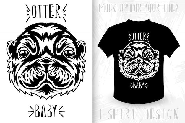 Rosto de lontra. impressão de t-shirt no estilo monocromático vintage.