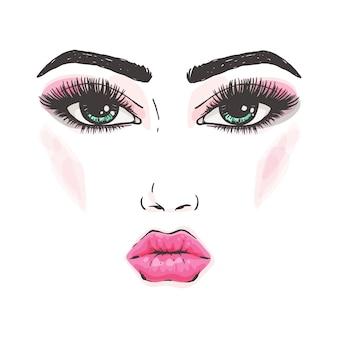 Rosto de maquiagem de mulher bonita