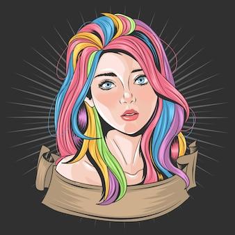 Rosto de menina bonita com olhos azuis e cabelo de arco-íris de unicórnio de cores