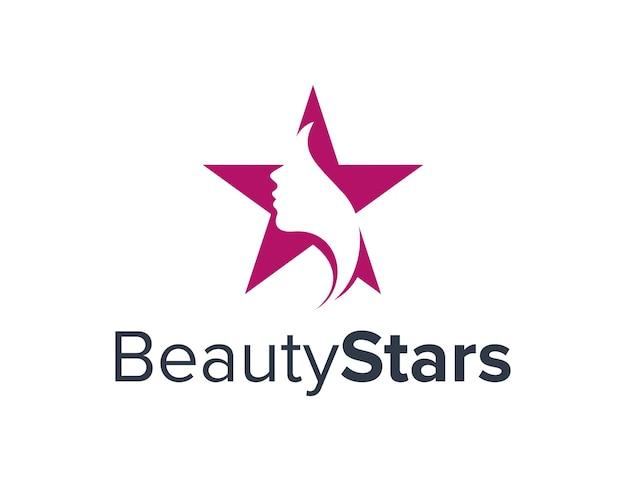 Rosto de meninas de beleza e estrelas simples, elegante, criativo, geométrico, moderno, logotipo