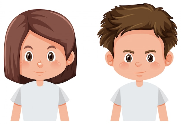 Rosto de menino e menina