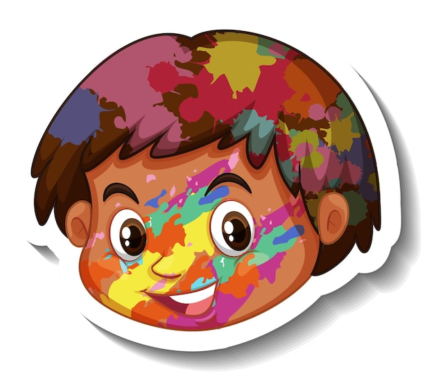 Rosto de menino feliz com adesivo colorido no rosto