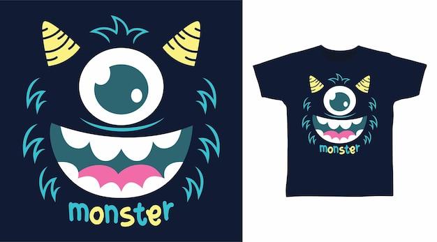 Rosto de monstro de olho fofo para design de camiseta