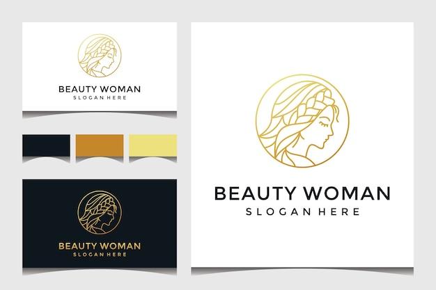Rosto de mulher bonita com arte de linha e logotipo estilo ouro