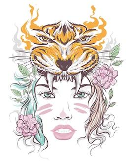 Rosto de mulher bonita com cabeça de tigre
