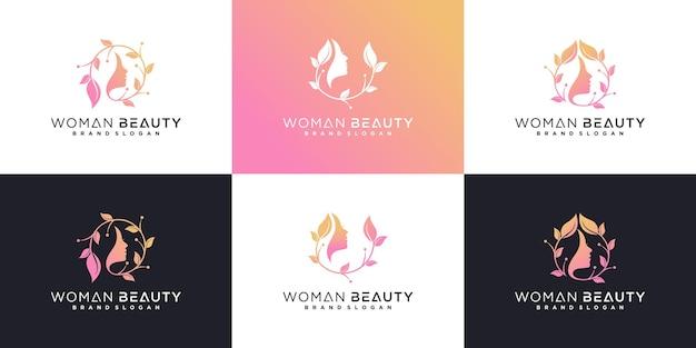 Rosto de mulher bonita com coleção de logotipo de flores com gradiente de rosa