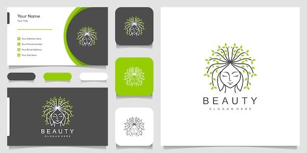 Rosto de mulher bonita com logotipo de estilo de linha de arte e design de cartão de visita