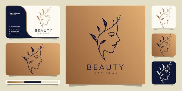 Rosto de mulher bonita criativa com logotipo do conceito de crescimento e design de cartão de visita.