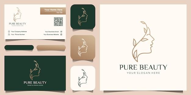 Rosto de mulher bonita criativa puro com logotipo de estilo de arte de linha de folha e design de cartão