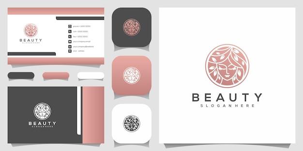 Rosto de mulher bonita e criativo puro com logotipo de estilo de arte de linha de folha e design de cartão de visita