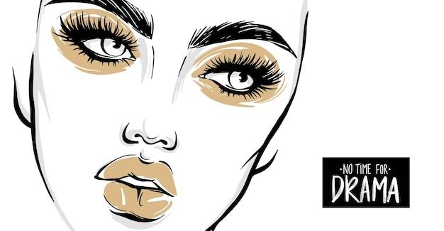 Rosto de mulher bonita retrato de menina com longos cílios pretos, sobrancelhas maquiagem dourada