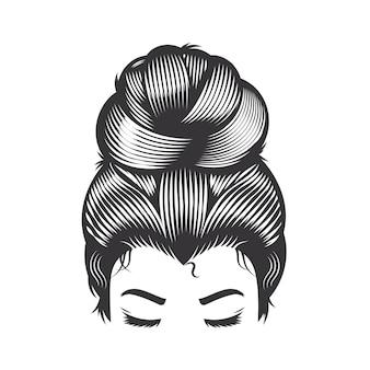 Rosto de mulher com coque de cabelo bagunçado e cílios longos vector a ilustração de arte de linha.