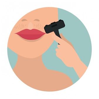 Rosto de mulher com depilação