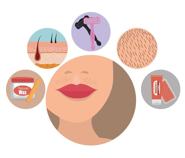 Rosto de mulher com elementos de depilação