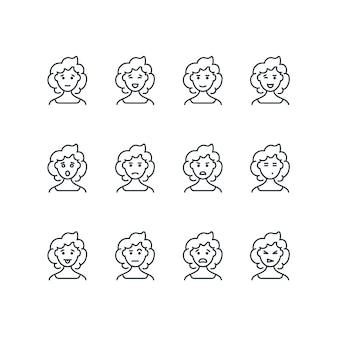 Rosto de mulher com ícones de linha de diferentes expressões