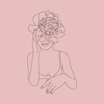 Rosto de mulher de arte de linha com flores. figura feminina mínima abstrata em um estilo linear moderno. ilustração de moda vetorial. arte elegante para pôsteres, logotipos e estampas de camisetas