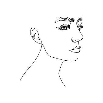 Rosto de mulher de uma linha. uma linha contínua de retratos femininos de perfil em um estilo minimalista moderno. ilustração vetorial para arte de parede, estampas de camisetas, logotipos, avatares, etc.