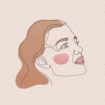 Rosto de mulher em linha rosa