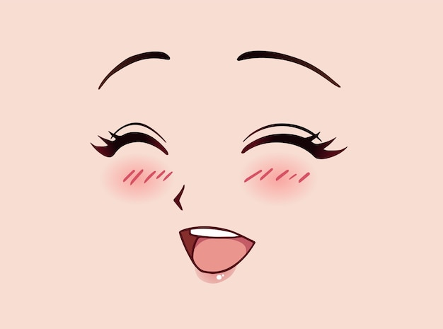 Rosto de mulher feliz de anime