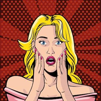 Rosto de mulher loira com boca aberta, surpresa, estilo pop art ilustração design