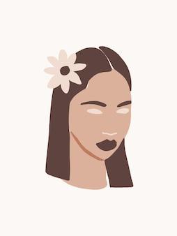 Rosto de mulher minimalista moderno e moderno com flor pôster de retrato de mulher abstrata