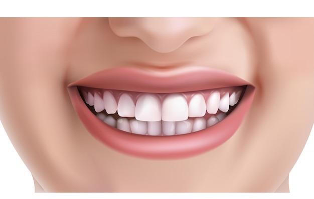 Rosto de mulher sorrindo com dentes brancos