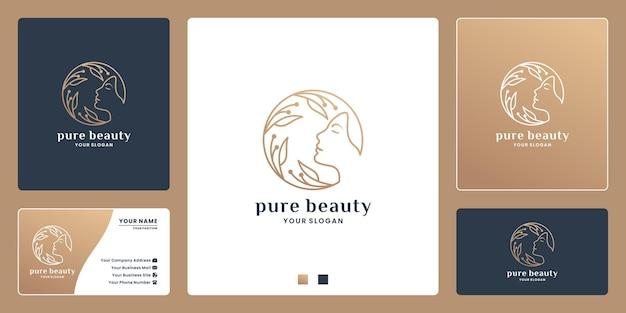 Rosto de mulheres de beleza pura, design de logotipo de emblema de luxo para salão de beleza, spa, rótulo de produto cosmético